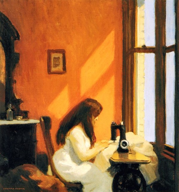 hopper - Girl at Sewing Machine. 1921. Oil on Canvas. 19 x 18 in. Museo Thyssen-Bornemisza, Madrid, Spain