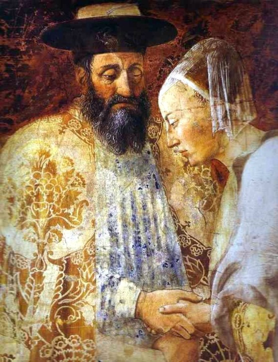 12535-Piero_della_Francesca-_Legend_of_the_True_Cross_-_the_Queen_of_Sheba_Meeting_with_Solomon3B_detail