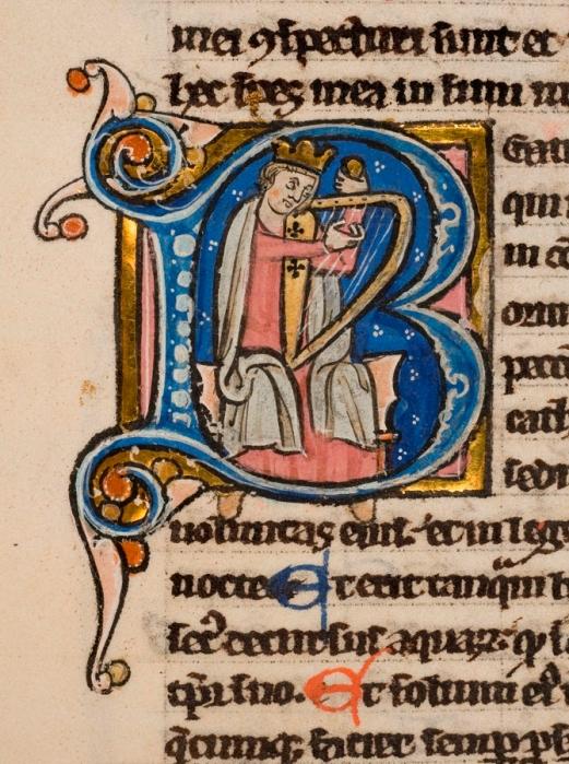 Enluminure David à la harpe [BML : Rés Ms 409]