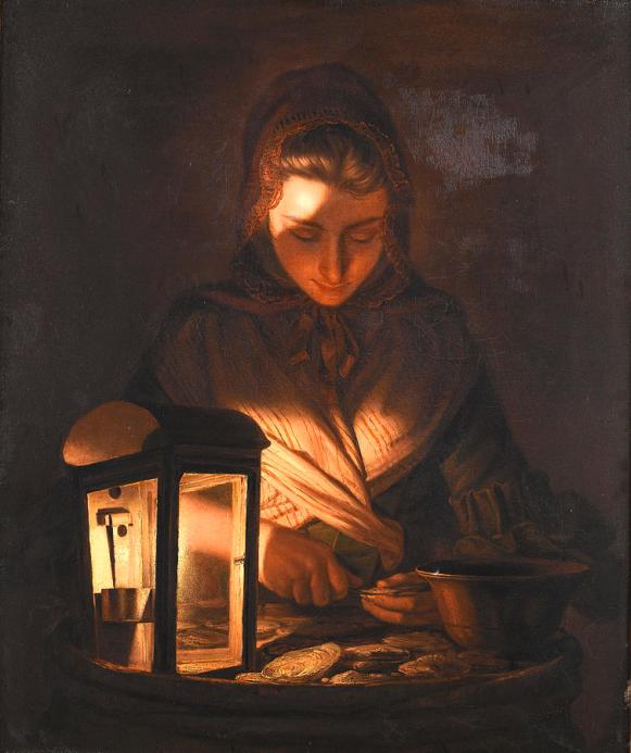 a-young-woman-shucking-oysters-by-lamplight-henry-robert-morland